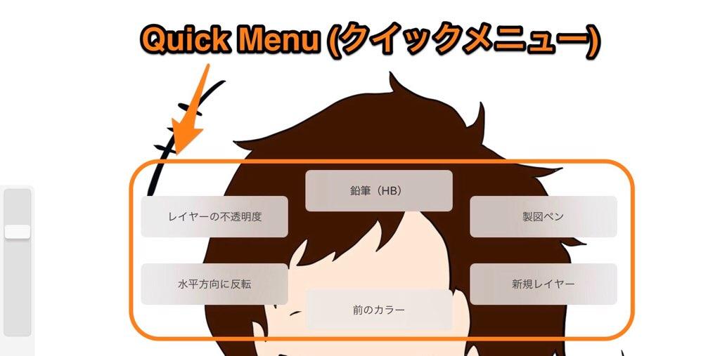 Quick Menu(クイックメニュー)使用画面