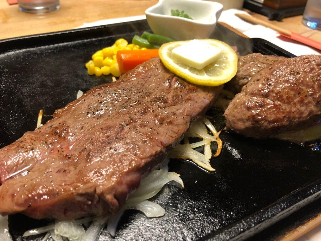 万葉楼のステーキとほろほろハンバーグ【アイキャッチ用】