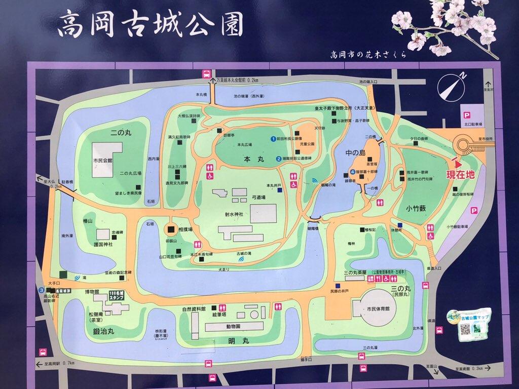 高岡古城公園の園内マップ