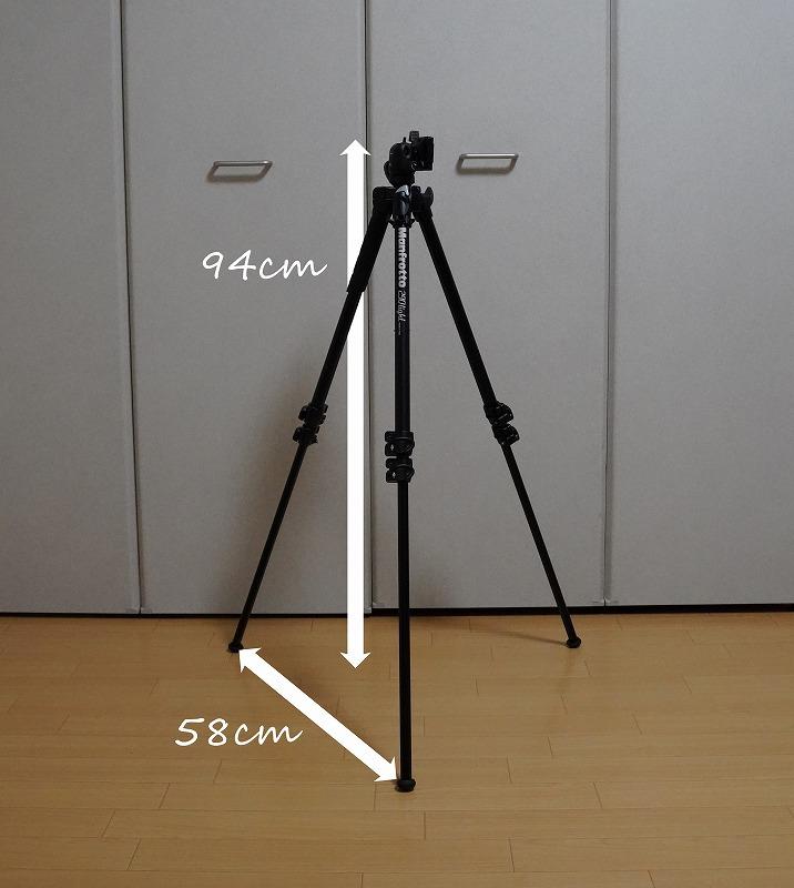 カメラ三脚【Manfrotto(マンフロット) 290 LIGHT】-三脚足のロックを1つ解除した状態