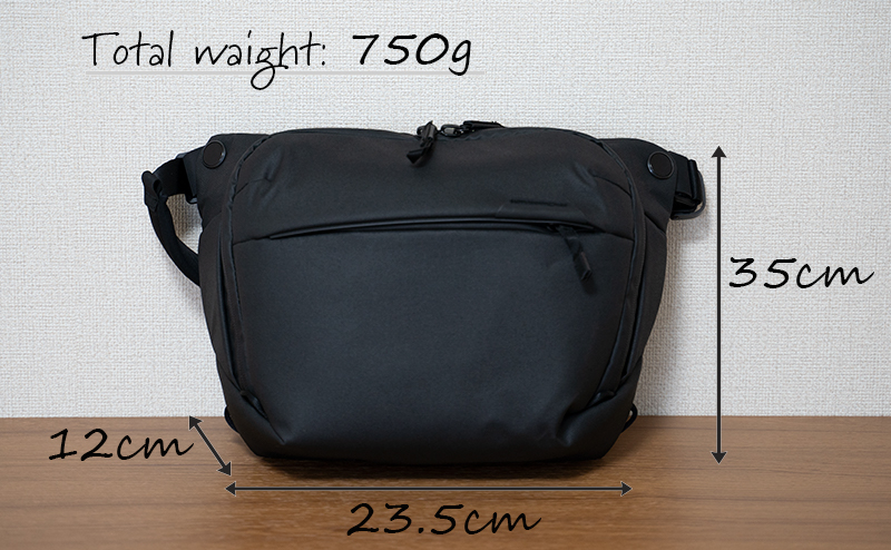 【Peak Designピークデザインエブリデイスリング6L】-サイズ感-寸法と重量