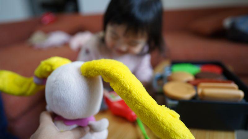 ぬいぐるみを使って知育玩具遊びに誘う父