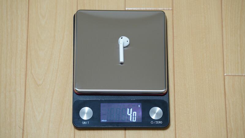 AirPods本体(イヤホン)の重量