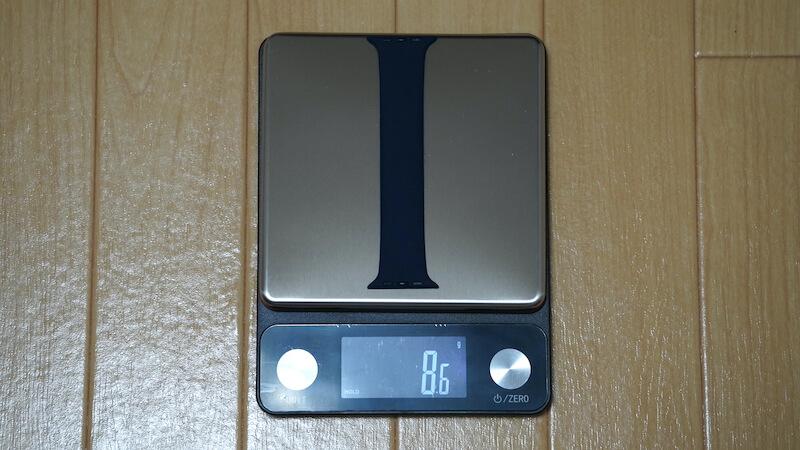 ESTIKI製 Apple Watch用ソロループの重量