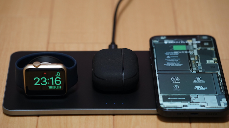 Satechi トリオワイヤレス充電パット_Satechi トリオワイヤレス充電パットレビュー各充電ポイントは、まるで「Apple製品の『上質な指定席』」