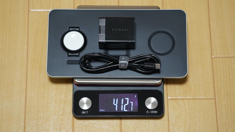 Satechi トリオワイヤレス充電パット_本体+充電アダプター+USBケーブルの重量