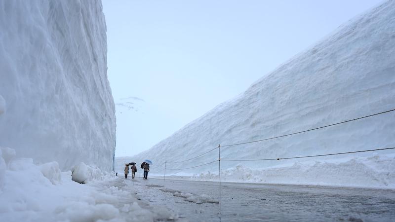 地面スレスレから雪の大谷を撮影した写真